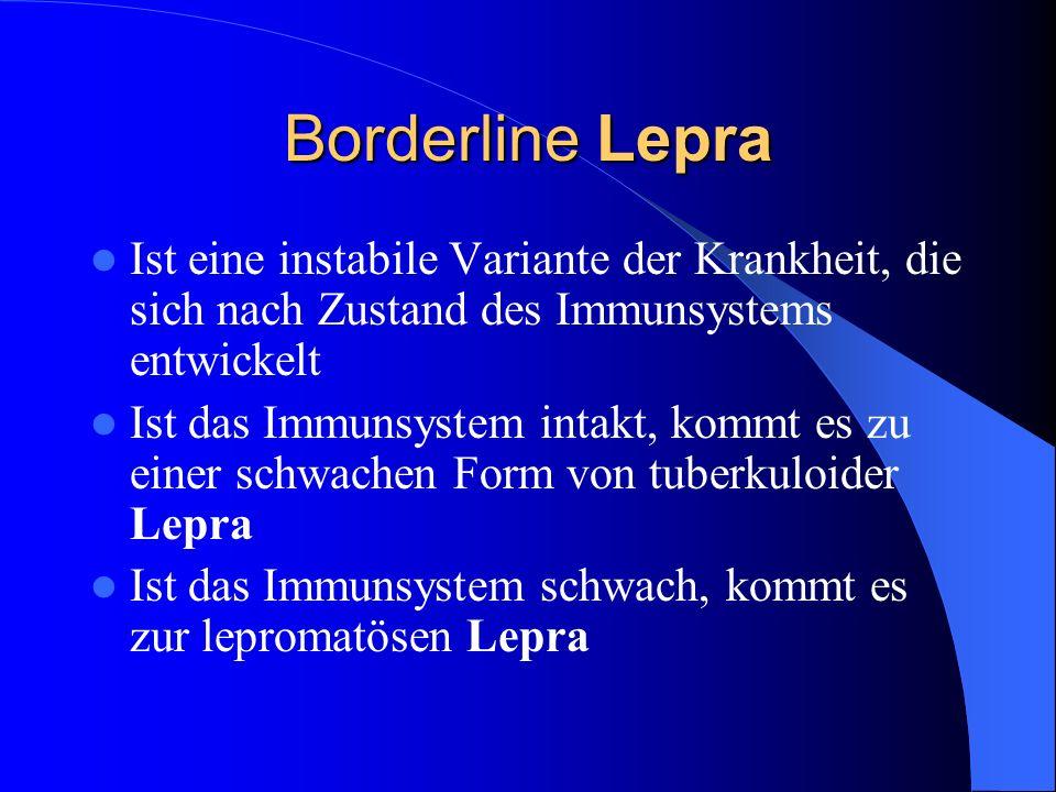 Borderline Lepra Ist eine instabile Variante der Krankheit, die sich nach Zustand des Immunsystems entwickelt.