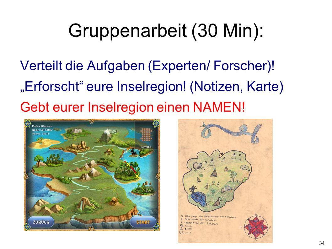 Gruppenarbeit (30 Min): Verteilt die Aufgaben (Experten/ Forscher)!