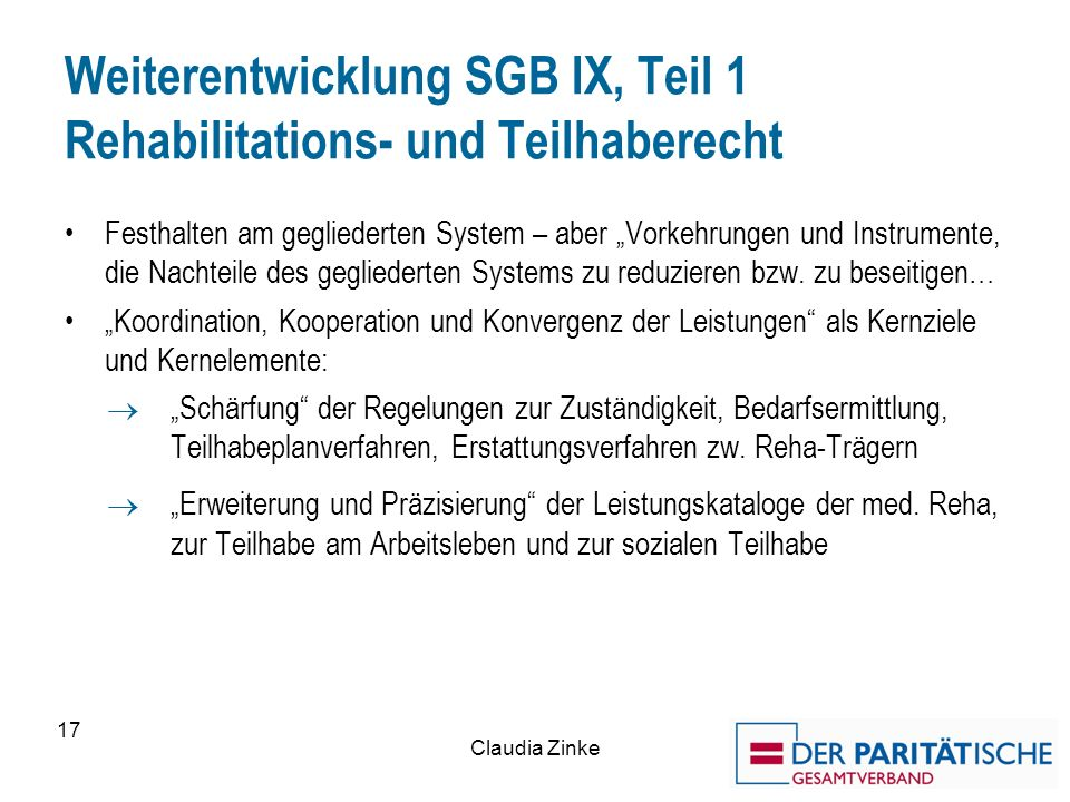 Weiterentwicklung SGB IX, Teil 1 Rehabilitations- und Teilhaberecht