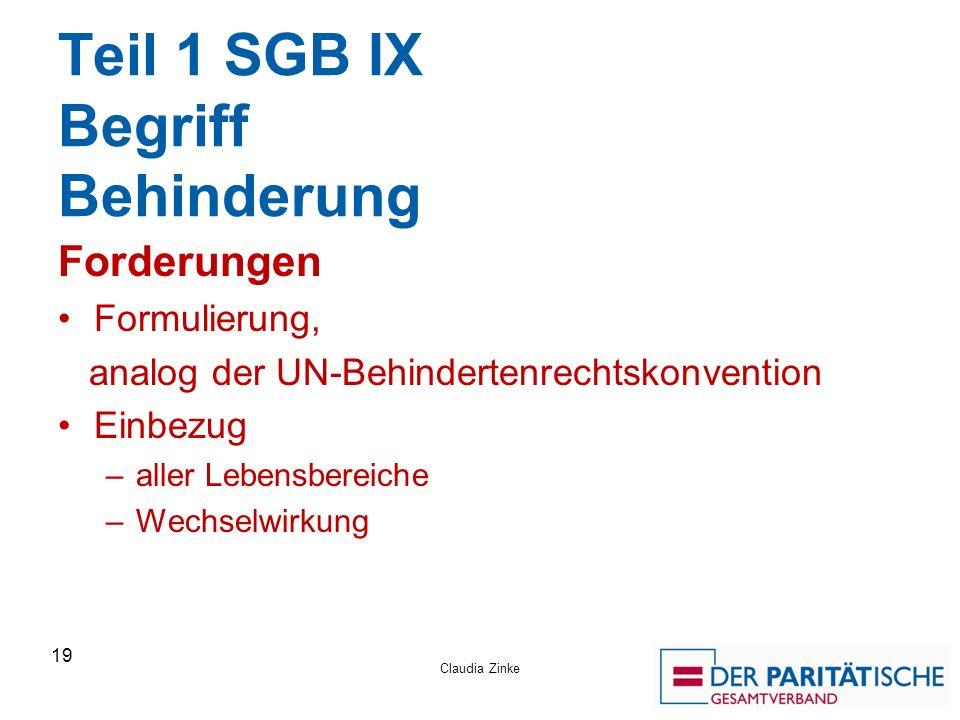 Teil 1 SGB IX Begriff Behinderung