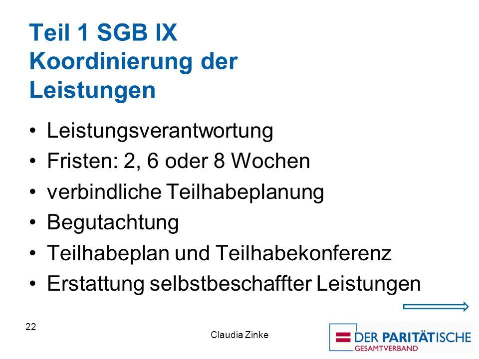 Teil 1 SGB IX Koordinierung der Leistungen