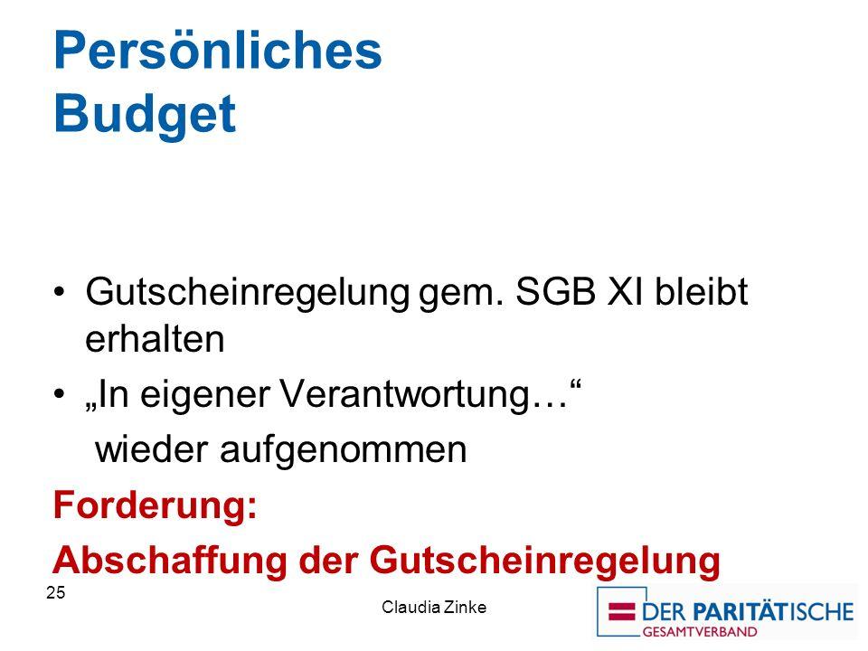 Persönliches Budget Gutscheinregelung gem. SGB XI bleibt erhalten