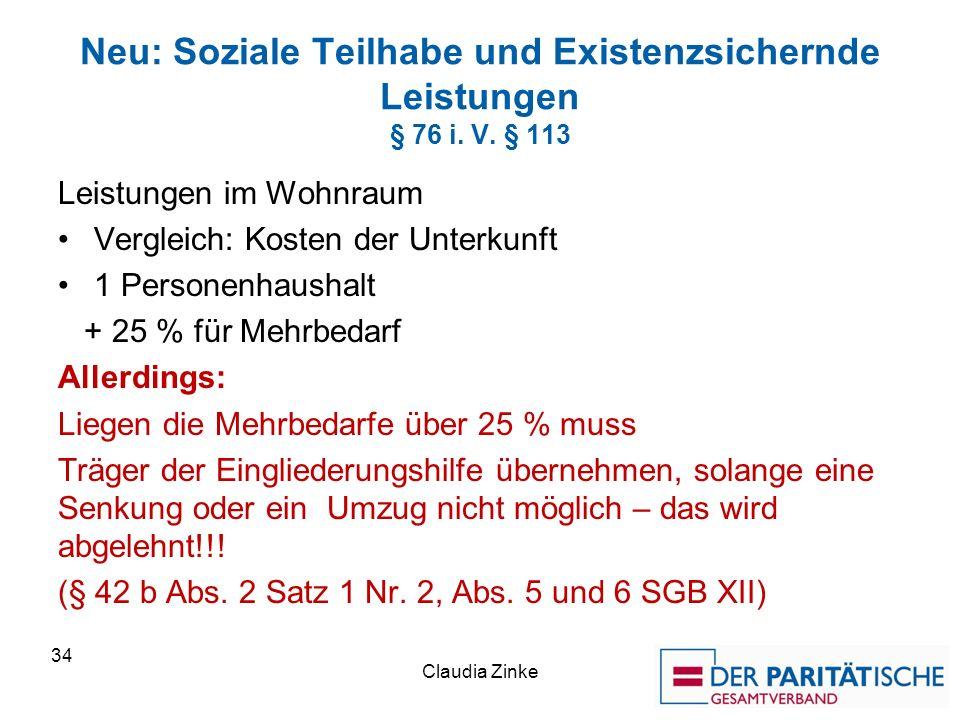 Neu: Soziale Teilhabe und Existenzsichernde Leistungen § 76 i. V. § 113