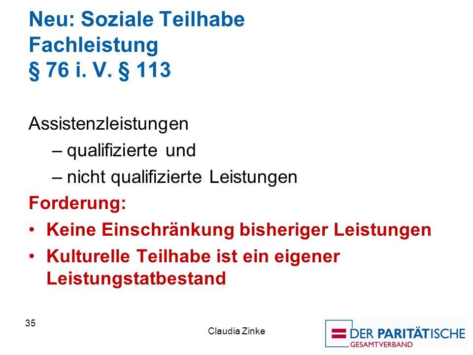 Neu: Soziale Teilhabe Fachleistung § 76 i. V. § 113