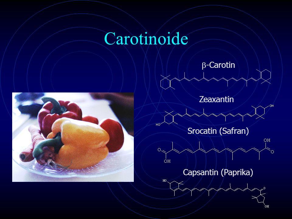 Carotinoide b-Carotin Zeaxantin Srocatin (Safran) Capsantin (Paprika)