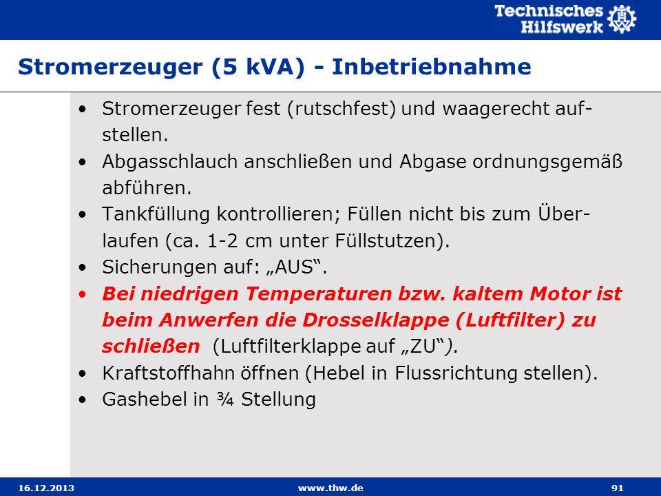 Stromerzeuger (5 kVA) - Inbetriebnahme