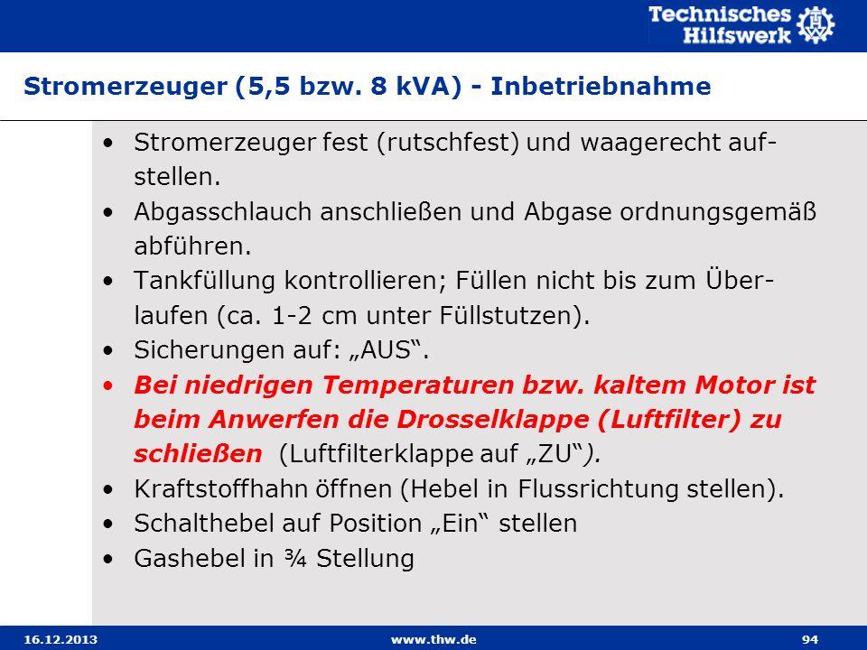 Stromerzeuger (5,5 bzw. 8 kVA) - Inbetriebnahme
