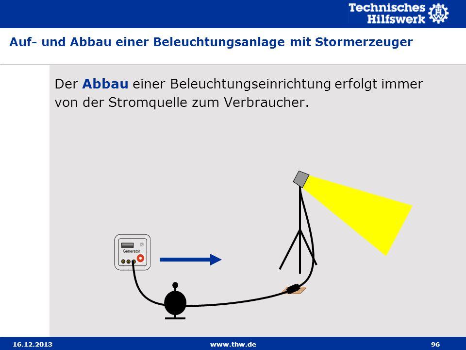 Auf- und Abbau einer Beleuchtungsanlage mit Stormerzeuger
