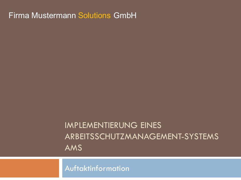 Implementierung eines Arbeitsschutzmanagement-systems AMS