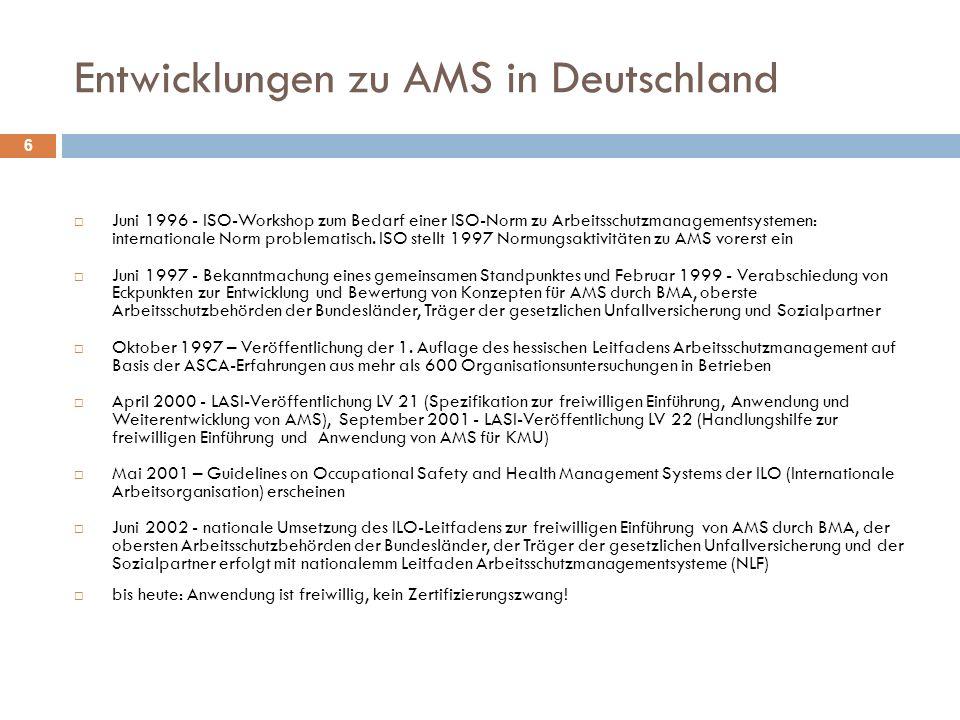 Entwicklungen zu AMS in Deutschland