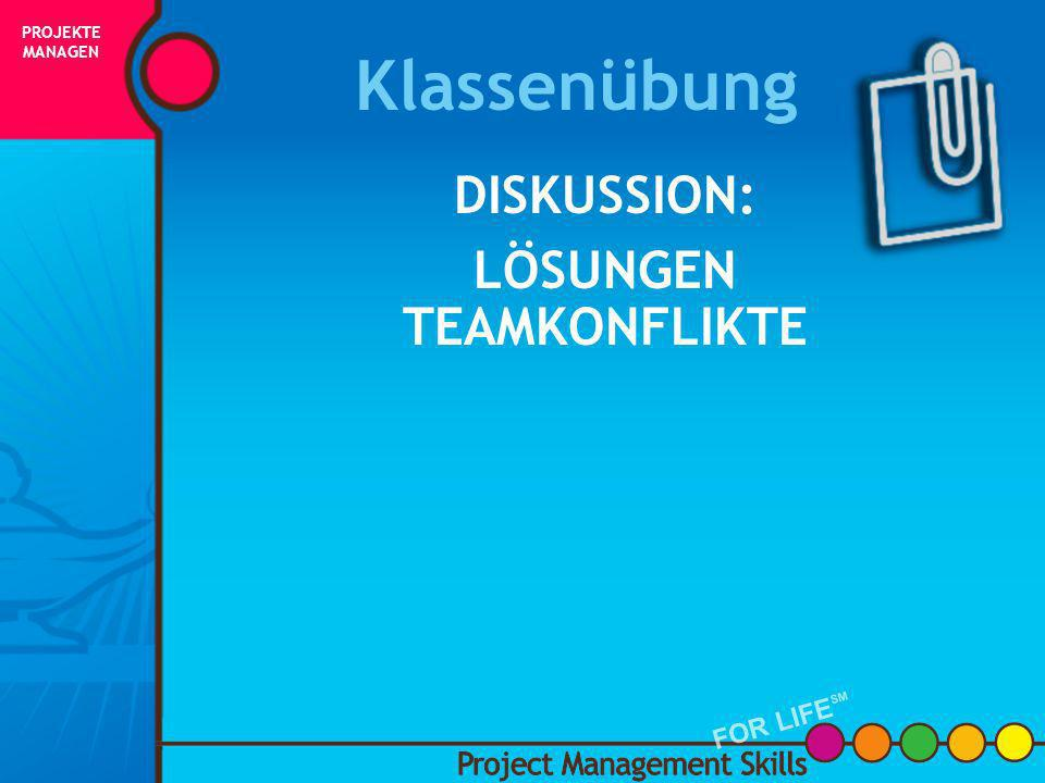 Klassenübung DISKUSSION: LÖSUNGEN TEAMKONFLIKTE FOR LIFESM