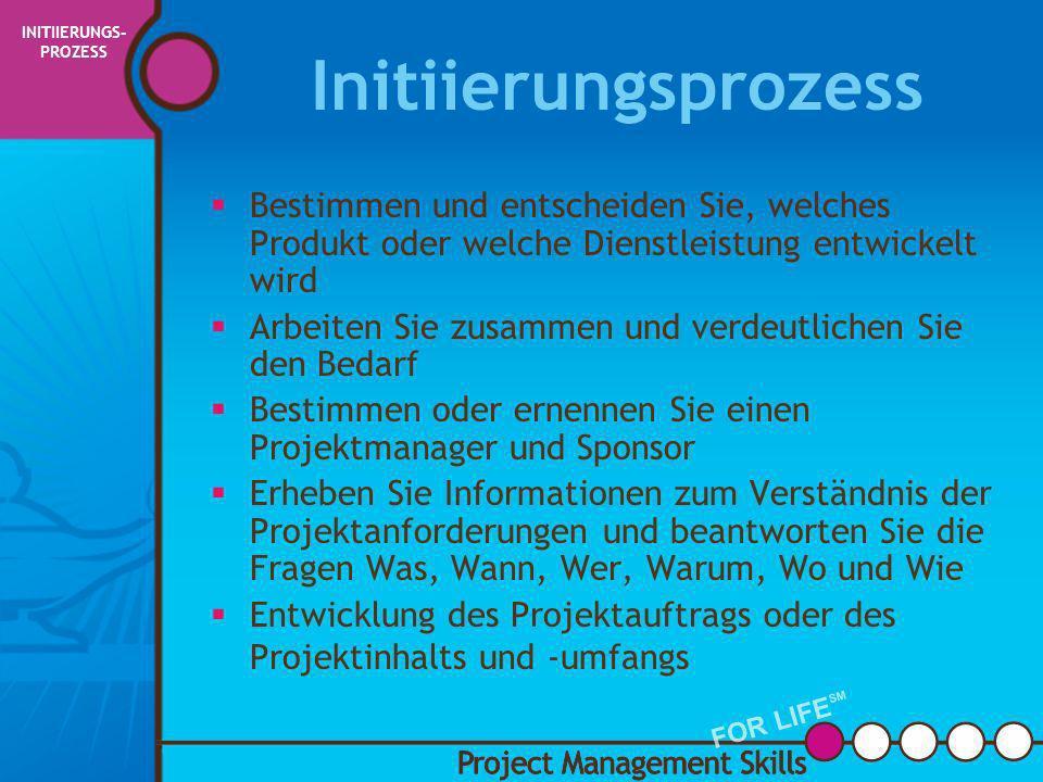 INITIIERUNGS-PROZESS PMBOK Begriffe und Definitionen
