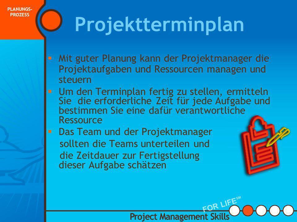 PLANUNGS-PROZESS Projektterminplan. Mit guter Planung kann der Projektmanager die Projektaufgaben und Ressourcen managen und steuern.