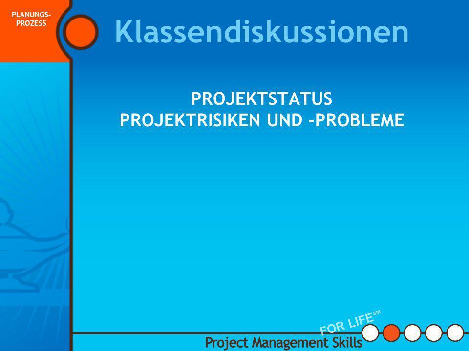 Klassendiskussionen PROJEKTSTATUS PROJEKTRISIKEN UND -PROBLEME