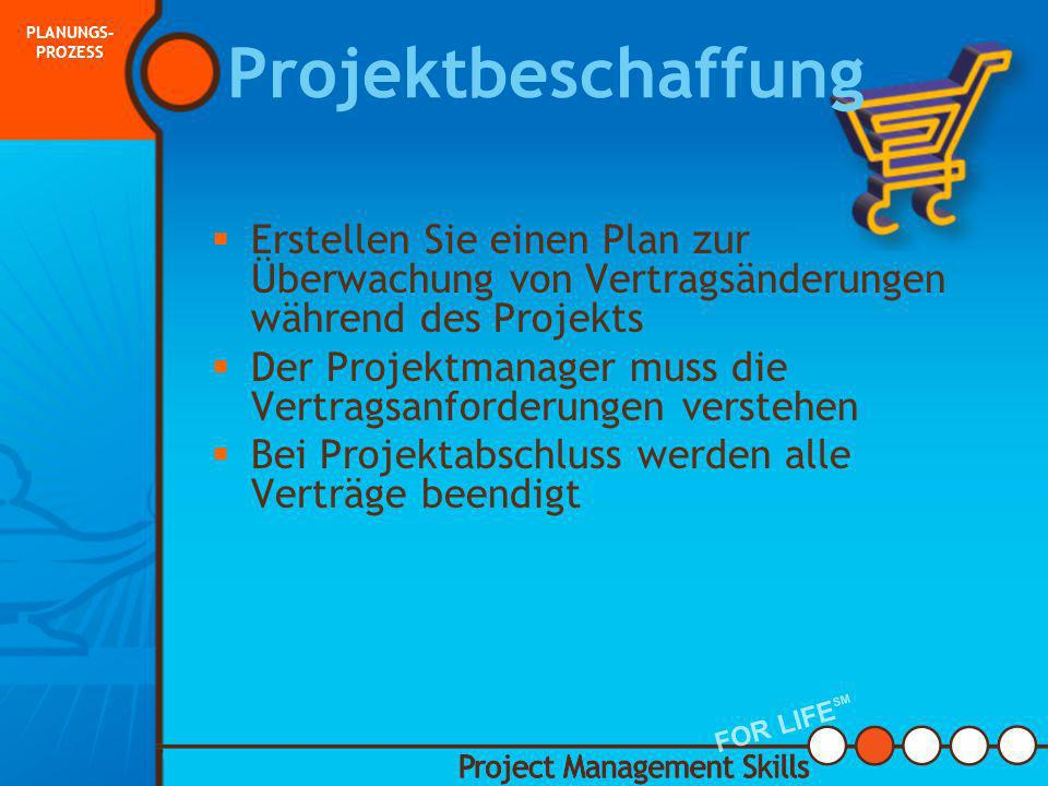 PLANUNGS-PROZESS Projektbeschaffung. Erstellen Sie einen Plan zur Überwachung von Vertragsänderungen während des Projekts.
