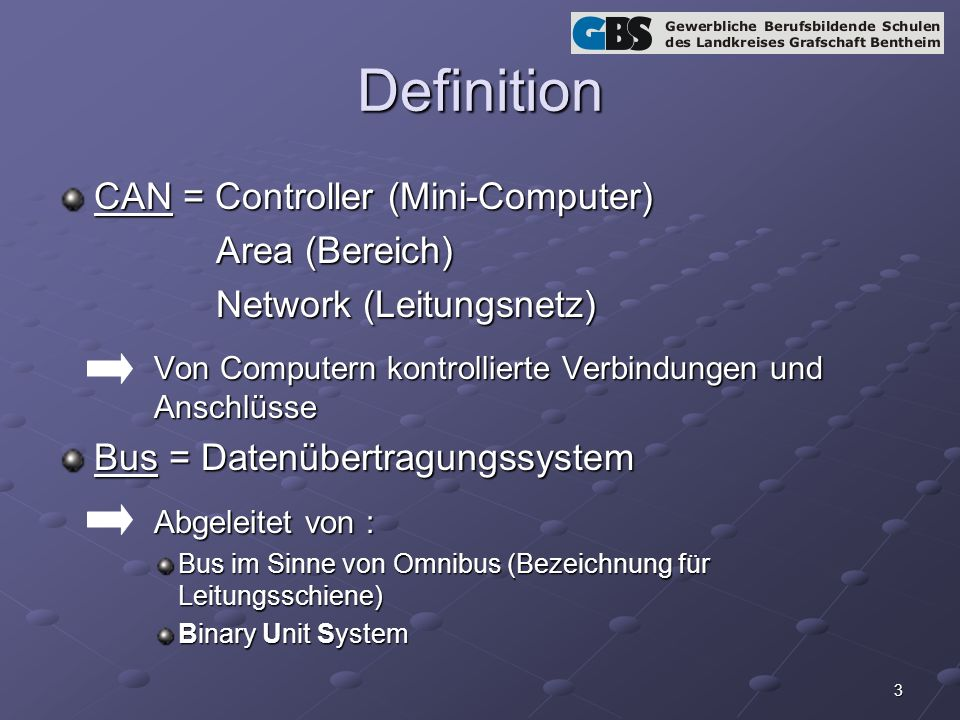 Definition CAN = Controller (Mini-Computer) Area (Bereich)