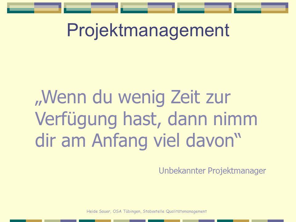 """Projektmanagement """"Wenn du wenig Zeit zur Verfügung hast, dann nimm dir am Anfang viel davon Unbekannter Projektmanager."""