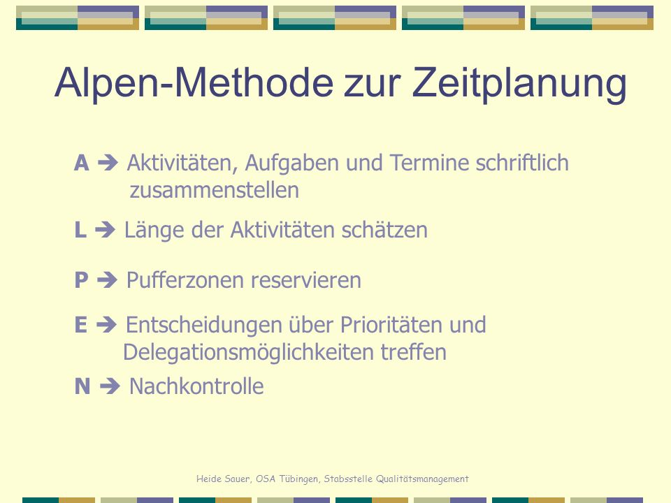 Alpen-Methode zur Zeitplanung