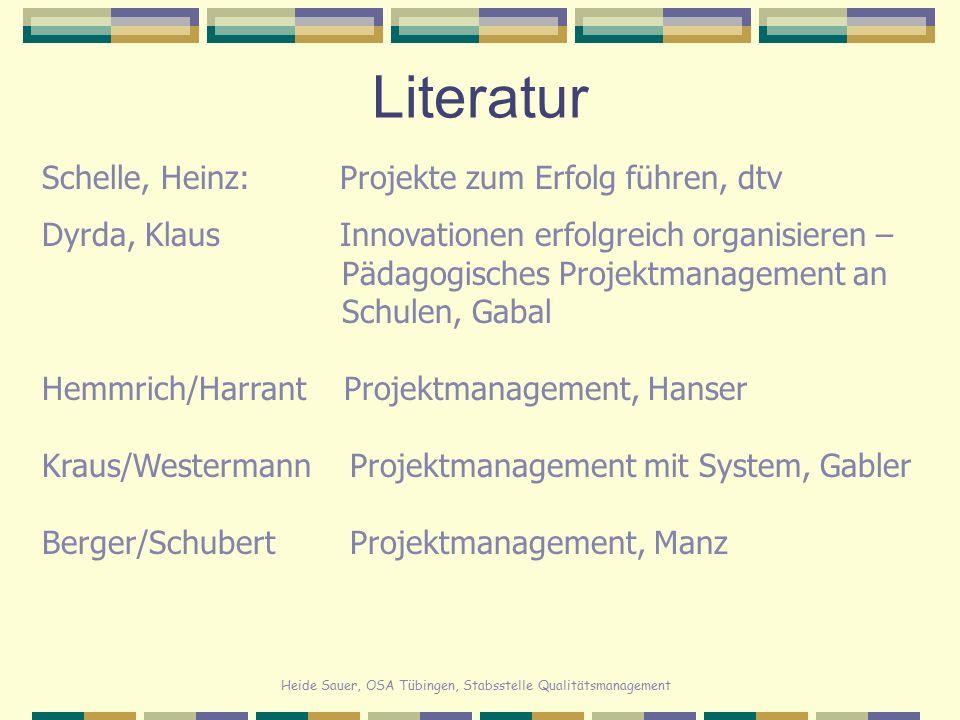 Literatur Schelle, Heinz: Projekte zum Erfolg führen, dtv