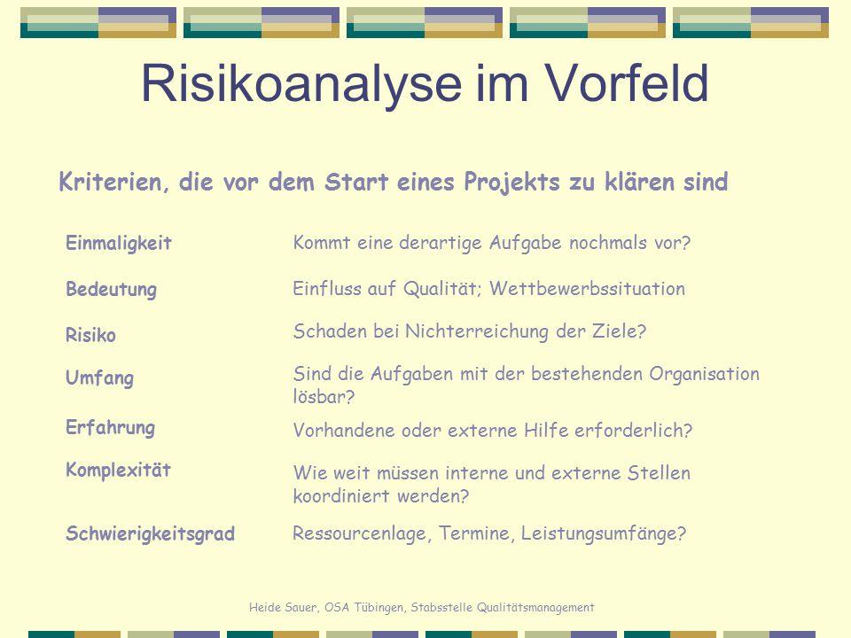 Risikoanalyse im Vorfeld