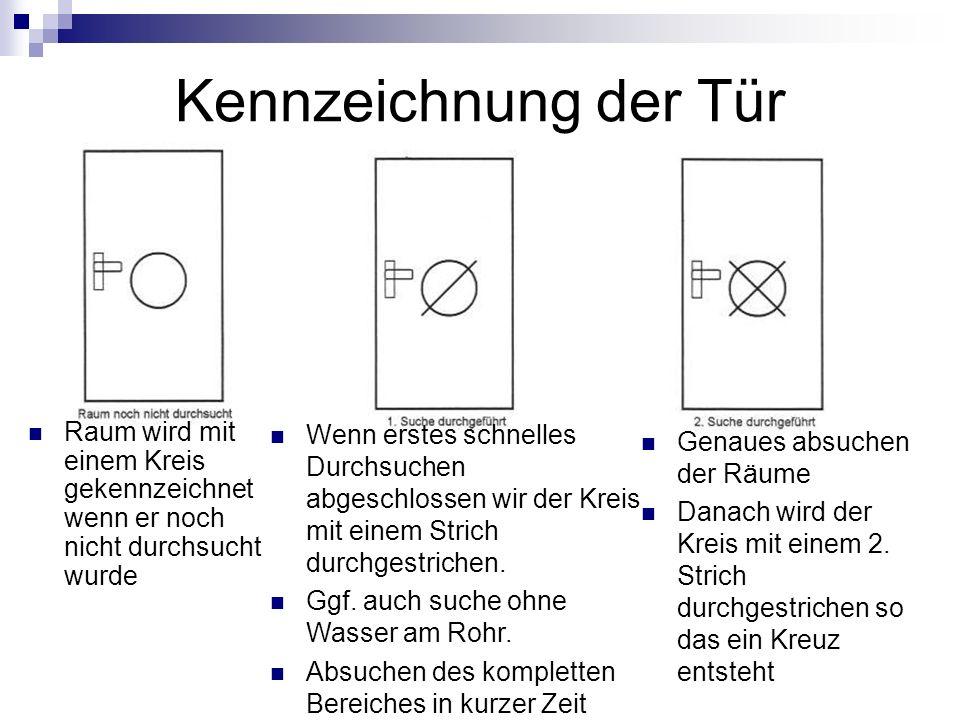 Kennzeichnung der Tür Raum wird mit einem Kreis gekennzeichnet wenn er noch nicht durchsucht wurde.