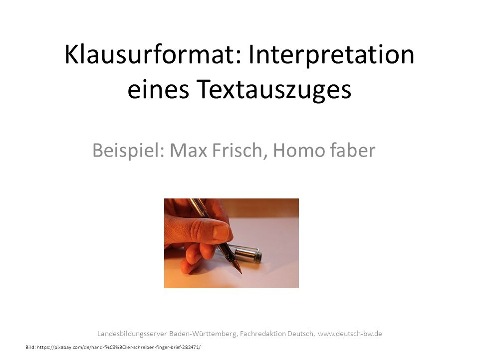 Klausurformat: Interpretation eines Textauszuges