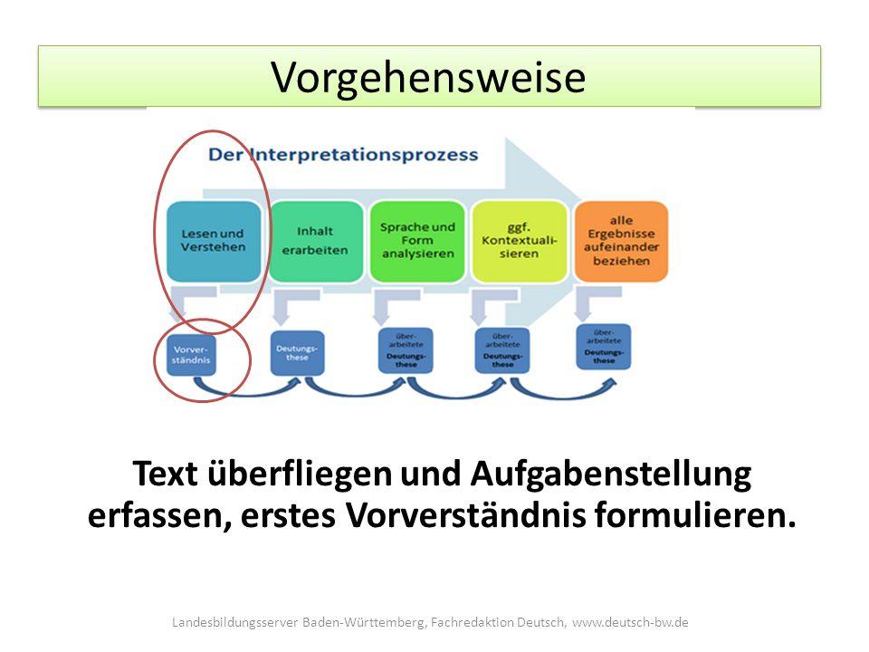 Vorgehensweise Text überfliegen und Aufgabenstellung erfassen, erstes Vorverständnis formulieren.