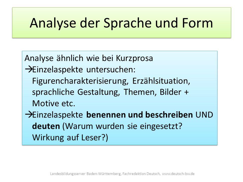 Analyse der Sprache und Form