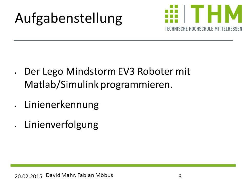 Aufgabenstellung Der Lego Mindstorm EV3 Roboter mit Matlab/Simulink programmieren. Linienerkennung.