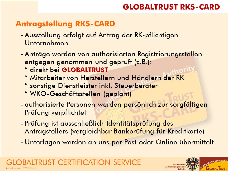 Antragstellung RKS-CARD