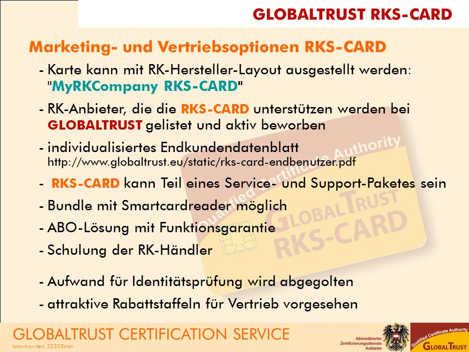 Marketing- und Vertriebsoptionen RKS-CARD