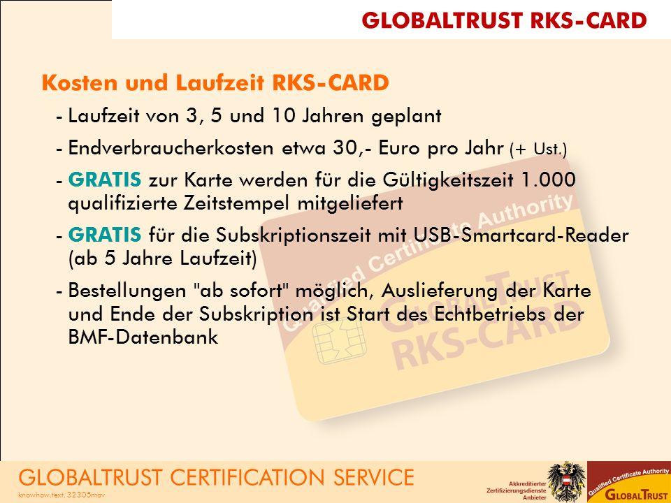 Kosten und Laufzeit RKS-CARD