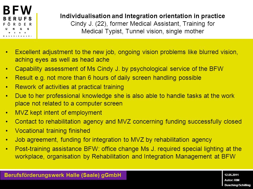 Individualisation and Integration orientation in practice Cindy J