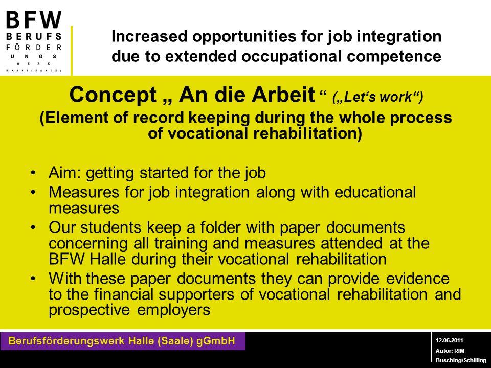 """Concept """" An die Arbeit (""""Let's work )"""