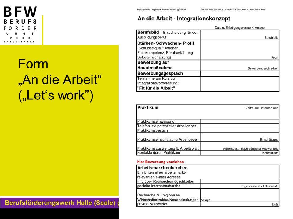 """Form """"An die Arbeit (""""Let's work )"""