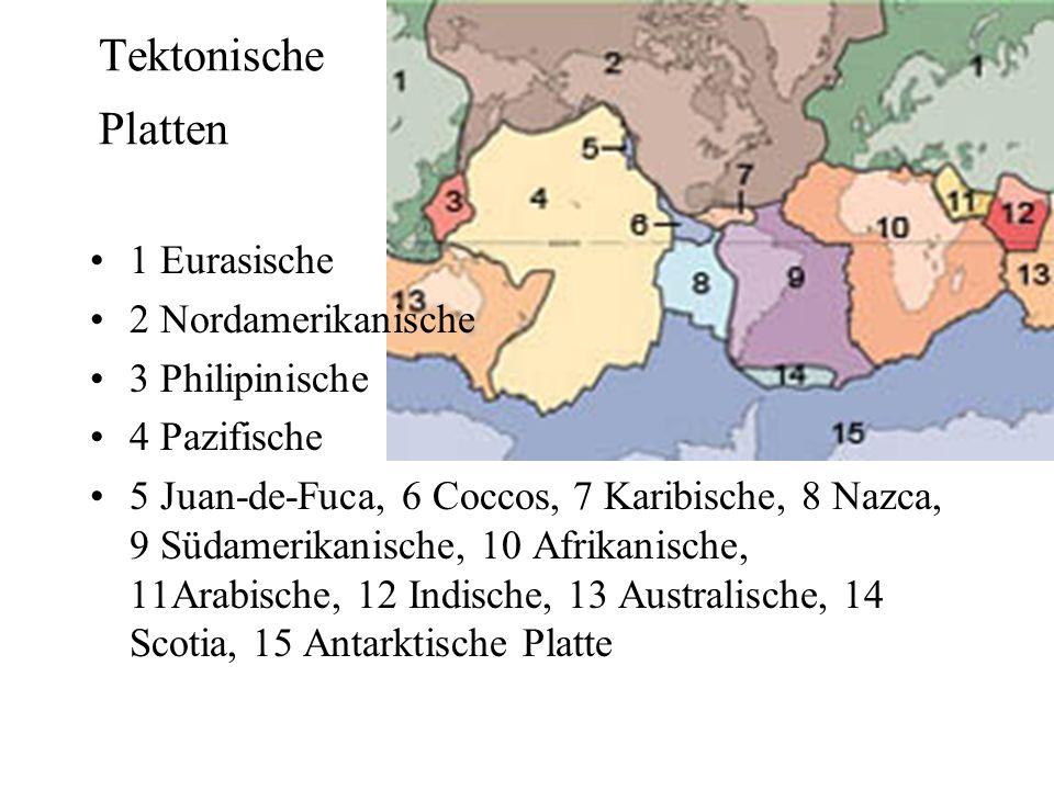 Tektonische Platten 1 Eurasische 2 Nordamerikanische 3 Philipinische