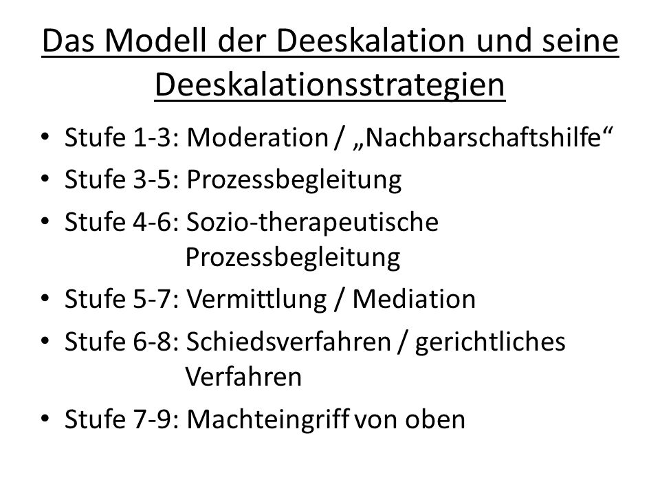 Das Modell der Deeskalation und seine Deeskalationsstrategien