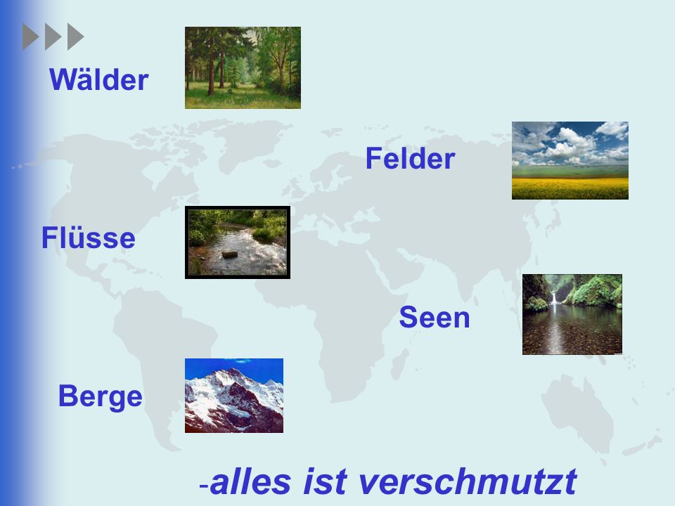 Wälder Felder Flüsse Seen Berge -alles ist verschmutzt