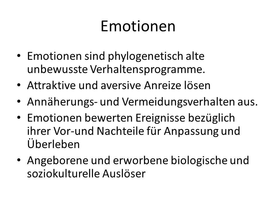 Emotionen Emotionen sind phylogenetisch alte unbewusste Verhaltensprogramme. Attraktive und aversive Anreize lösen.