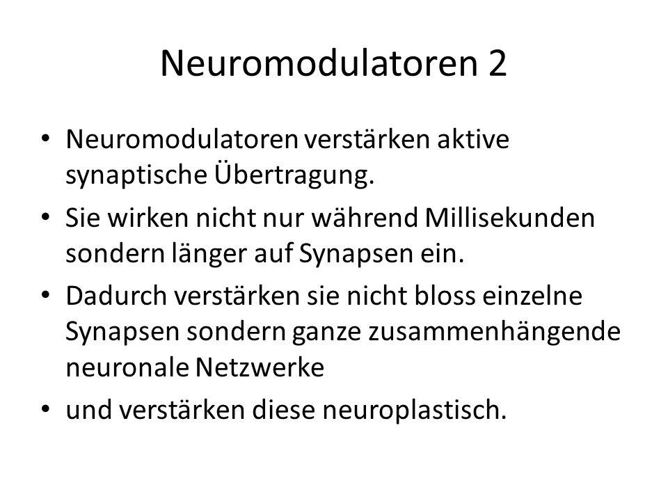 Neuromodulatoren 2 Neuromodulatoren verstärken aktive synaptische Übertragung.