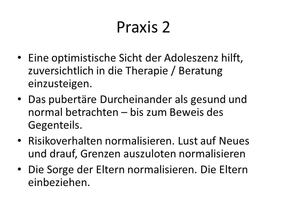 Praxis 2 Eine optimistische Sicht der Adoleszenz hilft, zuversichtlich in die Therapie / Beratung einzusteigen.