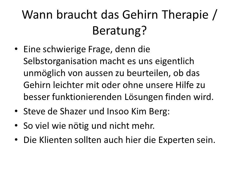 Wann braucht das Gehirn Therapie / Beratung