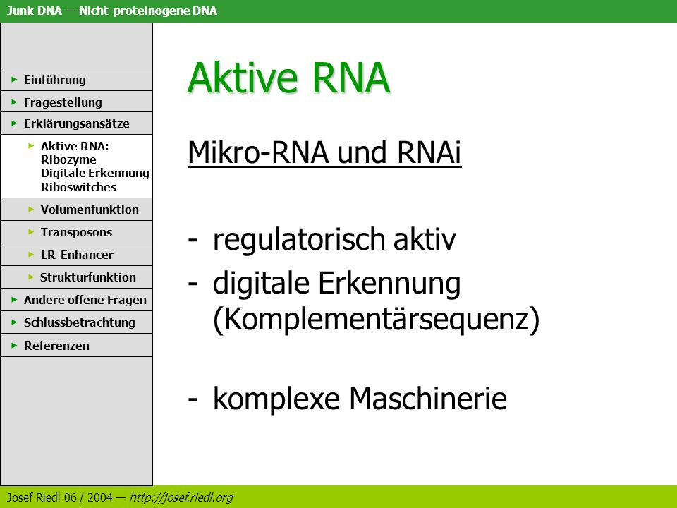 Aktive RNA Mikro-RNA und RNAi regulatorisch aktiv