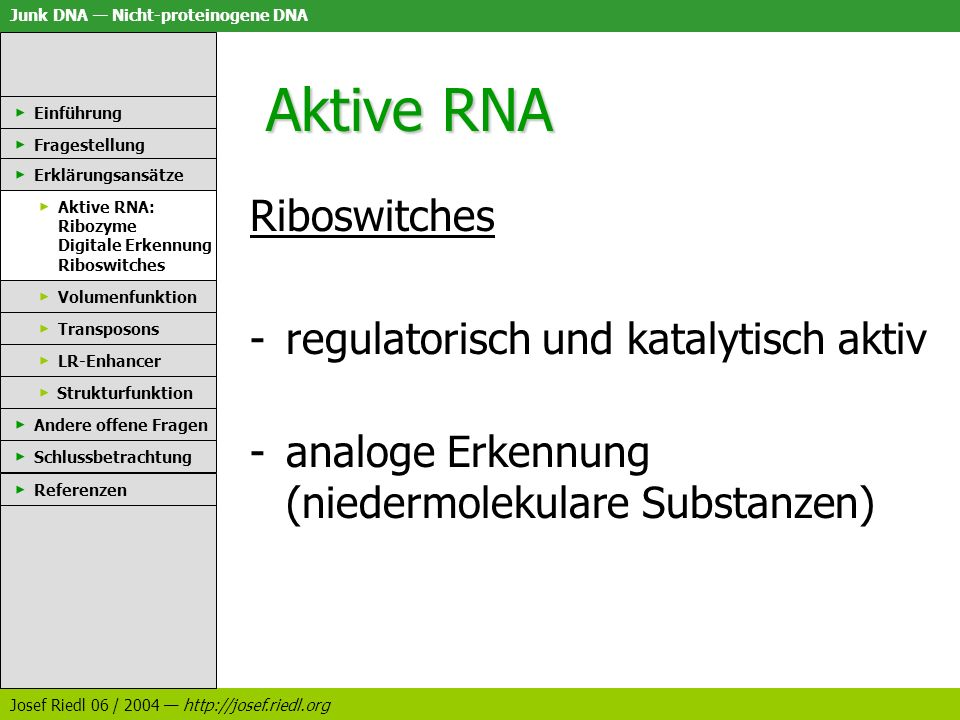 Aktive RNA Riboswitches regulatorisch und katalytisch aktiv
