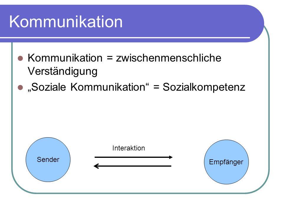 Kommunikation Kommunikation = zwischenmenschliche Verständigung