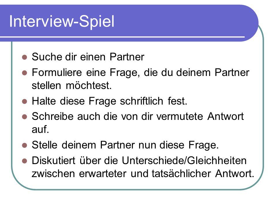 Interview-Spiel Suche dir einen Partner