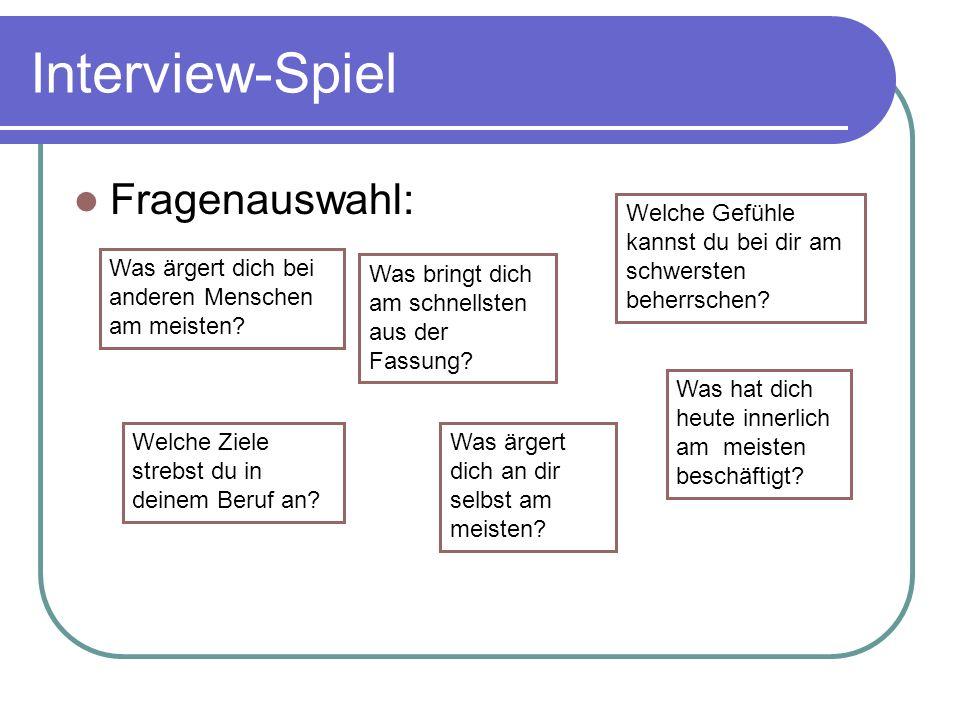 Interview-Spiel Fragenauswahl: