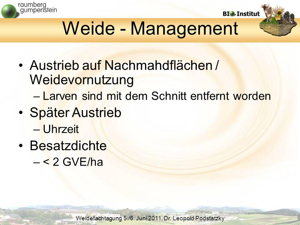 Weide - Management Austrieb auf Nachmahdflächen / Weidevornutzung
