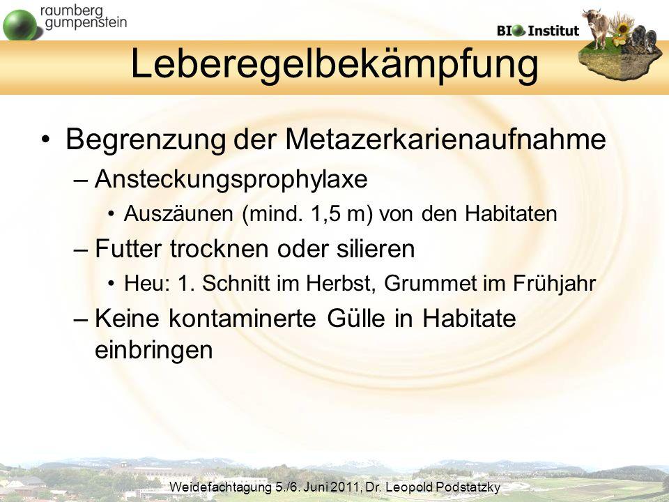 Leberegelbekämpfung Begrenzung der Metazerkarienaufnahme