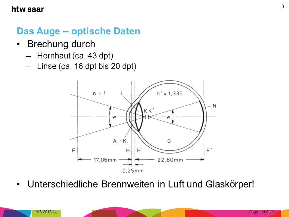 Das Auge – optische Daten